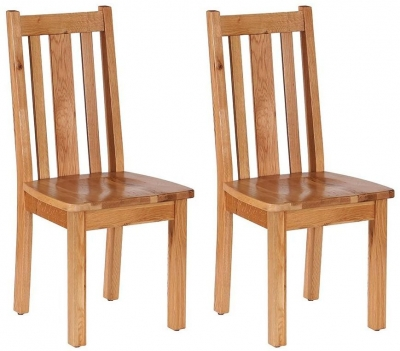 Vancouver Petite Oak Dining Chair - with Vertical Slats Timber Seat (Pair)