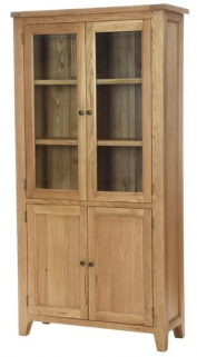 Vancouver Petite Oak Display Cabinet - 2 Doors 2 Glass Doors with 3 Shelves