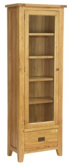Vancouver Petite Oak Display Unit - 1 Glazed Door with 1 Drawer