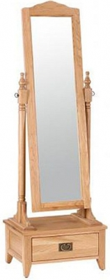 Vancouver Petite Oak Free Standing Mirror with Drawer