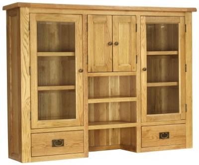 Vancouver Petite Oak Glazed Hutch - 4 Door 2 Drawer