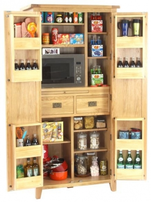 Vancouver Petite Oak Larder with Microwave Compartment