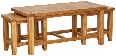 Vancouver Petite Oak Nest of Tables - 3 Coffee