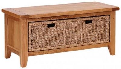 Vancouver Petite Oak 2 Basket Drawer Storage Bench