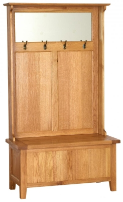 Vancouver Petite Oak Storage Unit - with Coat Racks and Mirror
