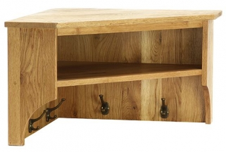 Vancouver Petite Oak Wall Shelf - Large Corner with Coat Rack