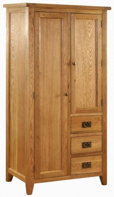 Vancouver Petite Oak Double Wardrobe with Removable Shelves - 2 Door 3 Drawer