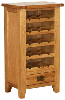 Vancouver Petite OakWine Unit with 5 Shelves 1 Drawer