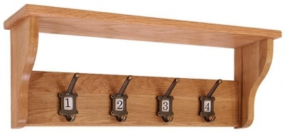 Vancouver Petite oak School Coat Rack - 4 Hooks
