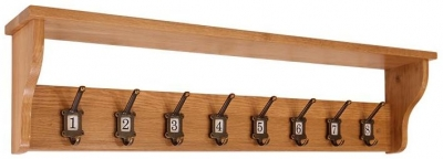 Vancouver Petite oak School Coat Rack - 8 Hooks