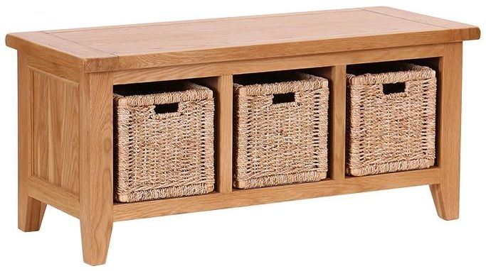 Vancouver Petite Oak Bench - Storage with 3 Basket Drawer