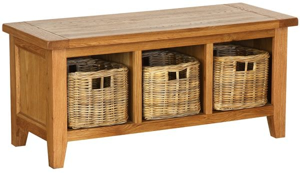 Vancouver Petite Oak Bench - Storage with 3 Basket Drawers