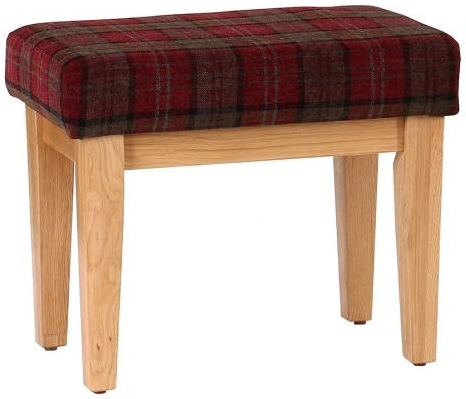 Vancouver Petite Oak Bench with Claret Tartan Seat