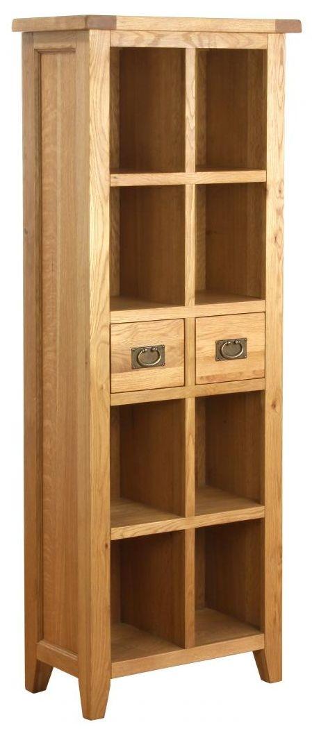 Vancouver Petite Oak 2 Drawer Small Bookcase