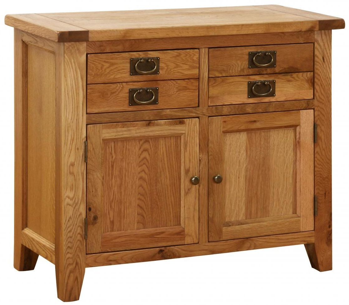 Vancouver Petite Oak 2 Door 2 Drawer Narrow Sideboard