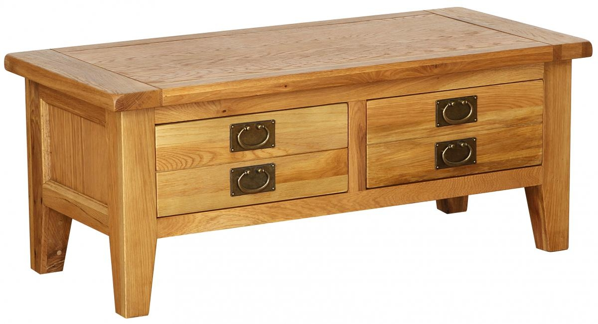 Vancouver Petite Oak 2 Drawer Storage Large Coffee Table