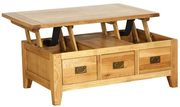 Vancouver Petite Oak Coffee Table - Lift Up Top 3 Drawers