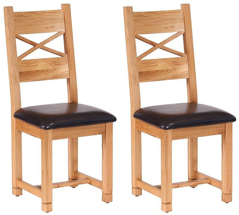 Vancouver Petite Oak Cross Back Dining Chair - with Chocolate Leather Seat Pad (Pair)