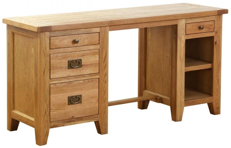 Vancouver Petite Oak Desk - Double Pedestal