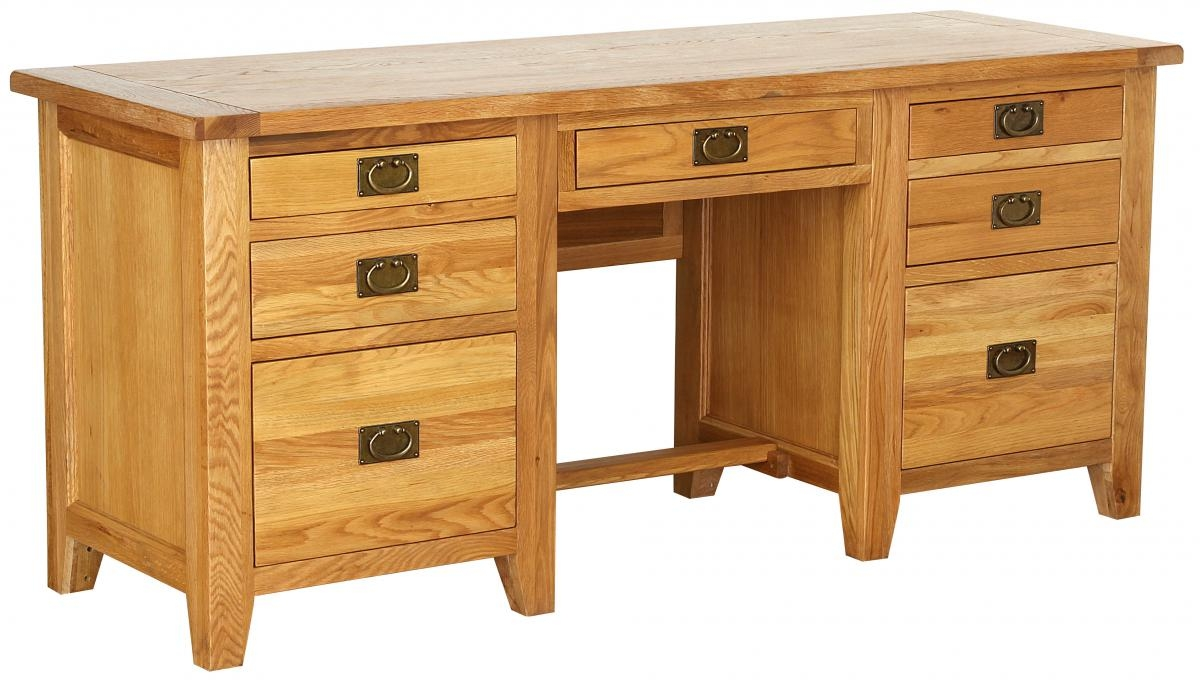 Vancouver Petite Oak Desk - Twin Pedestal