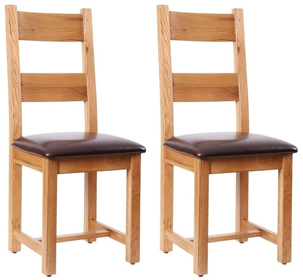 Vancouver Petite Oak Dining Chair - Chocolate Leather Seat (Pair)