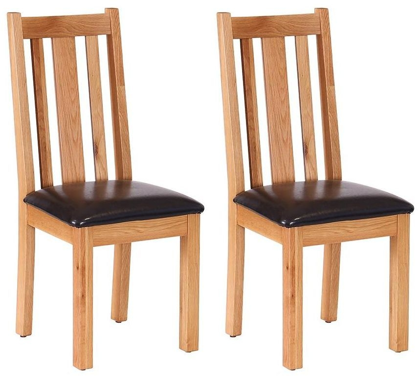 Vancouver Petite Oak Dining Chair - with Vertical Slats Chocolate Leather Seat (Pair)