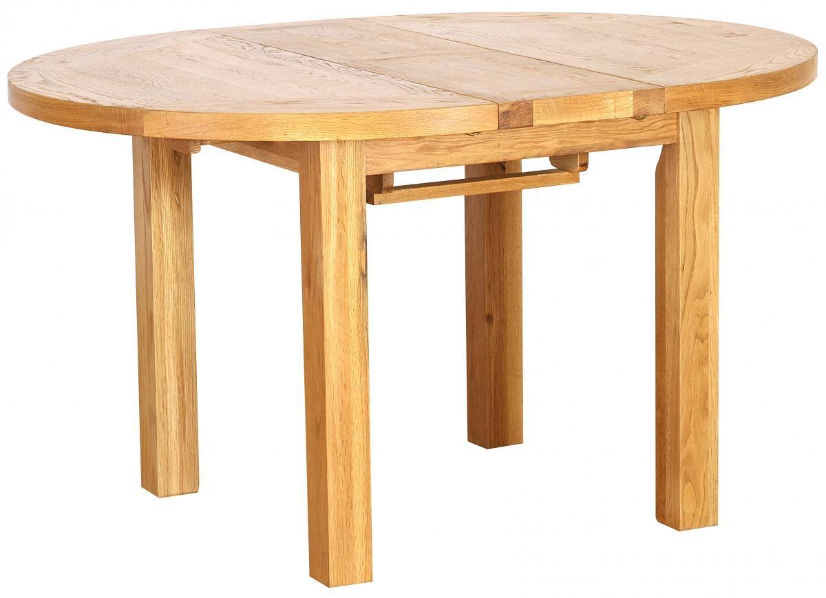Vancouver Petite Oak Round Extending Dining Table - 110cm-140cm