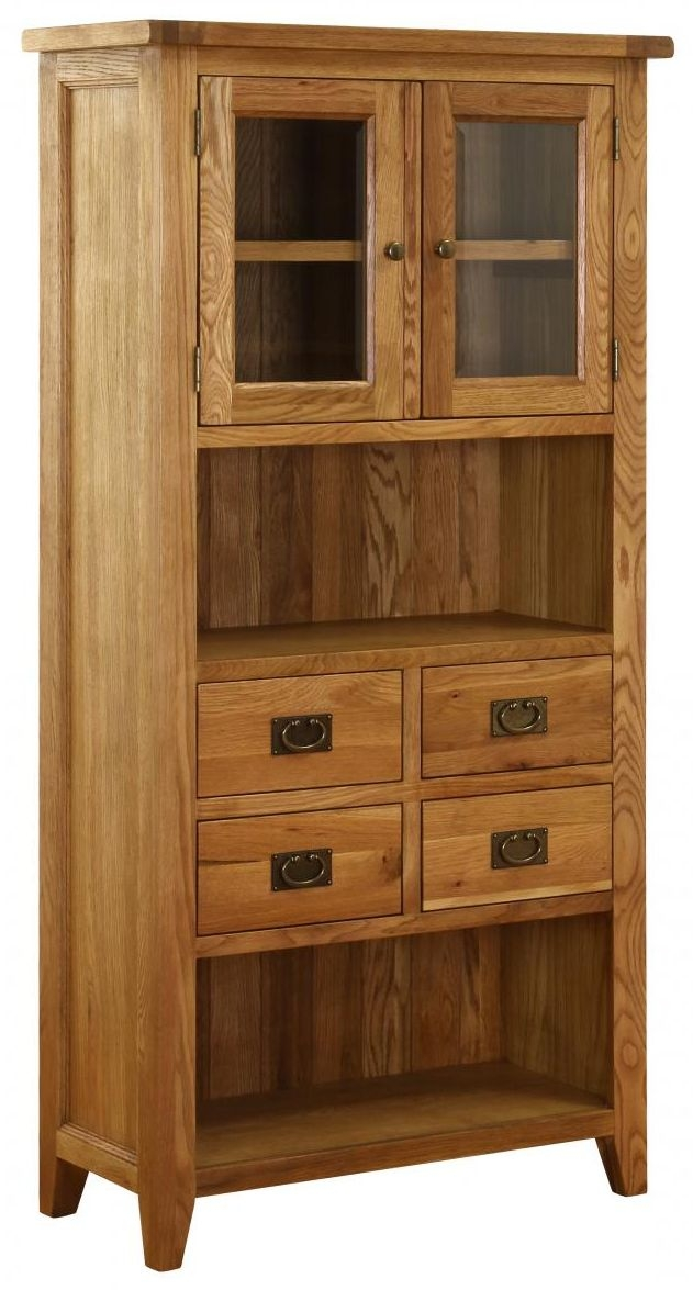 Vancouver Petite Oak Display Cabinet - 2 Door 4 Drawer
