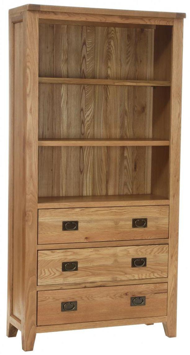Vancouver Petite Oak Display Cabinet - 3 Drawer 2 Shelves