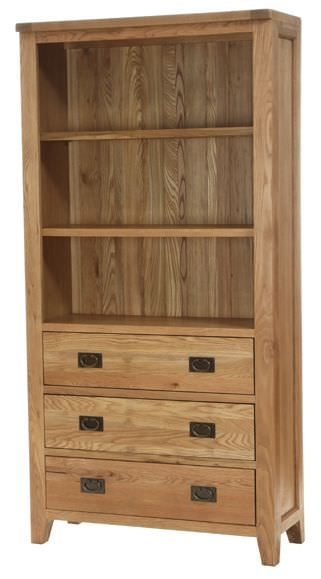 Vancouver Petite Oak Display Cabinet - 3 Drawers 2 Shelves