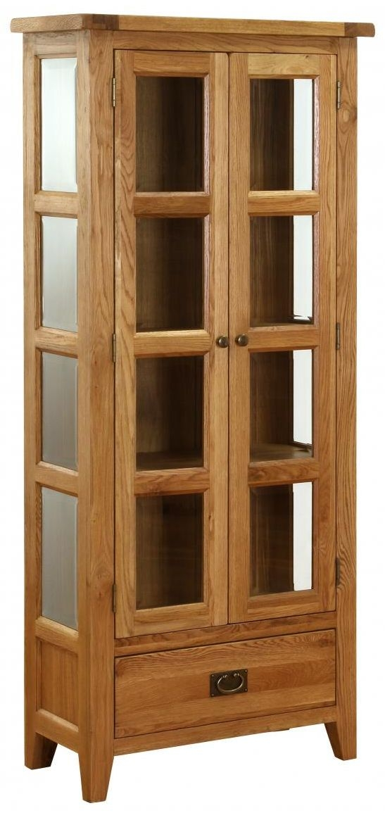 Vancouver Petite Oak Display Cabinet - Glazed 2 Door 1 Drawer