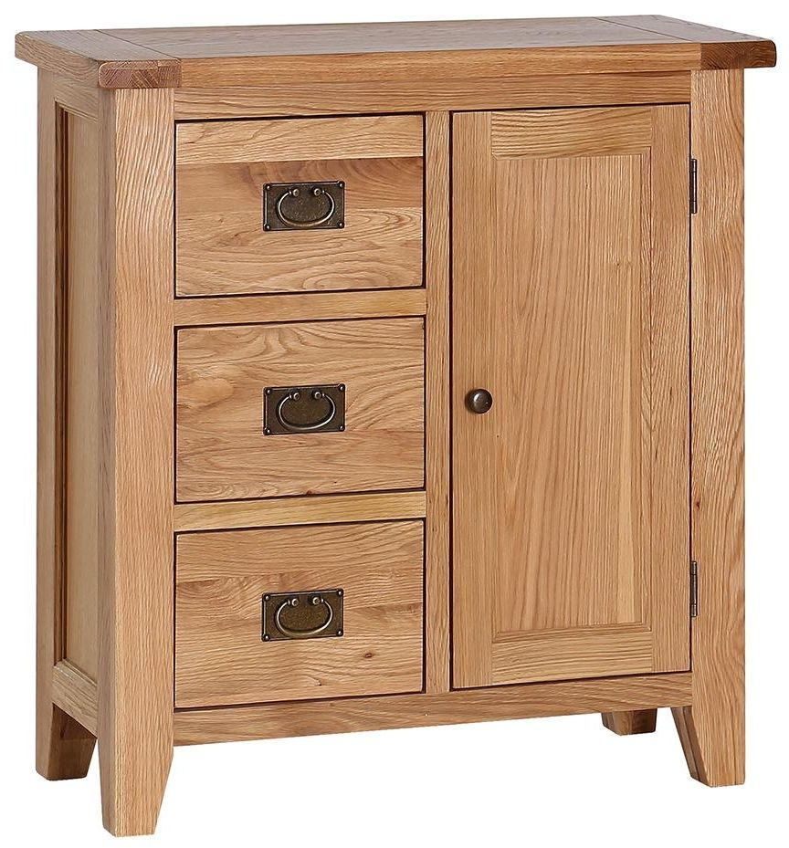 Vancouver Petite Oak Hall Cupboard - 1 Door 3 Drawer