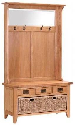 Vancouver Petite Oak Hall Tidy 3 Drawer Bench with Coat Rack Mirror and Basket Drawer