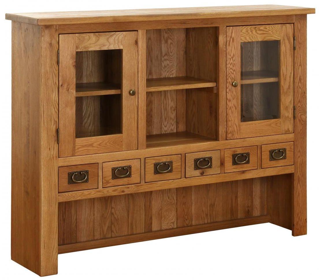 Vancouver Petite Oak Hutch - 2 Door 6 Drawer