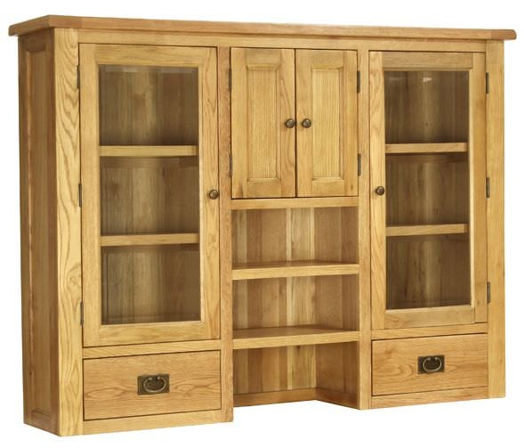 Vancouver Petite Oak Hutch - 4 Doors 2 Drawers Glazed