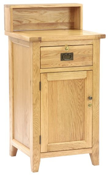 Vancouver Petite Oak Sales Desk - 1 Door 1 Drawer with Top Shelf