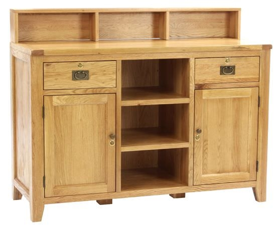 Vancouver Petite Oak Sales Desk - 2 Door 2 Dawer Large with Top Shelf