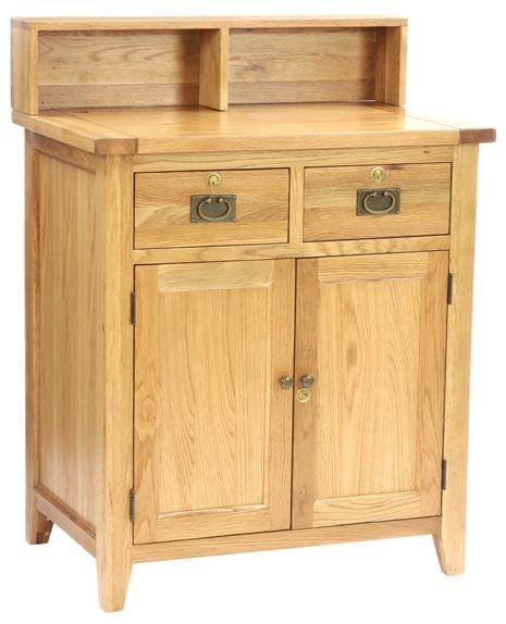 Vancouver Petite Oak Sales Desk - 2 Door 2 Dawer Small with Top Shelf