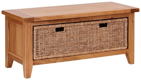 Vancouver Petite Oak Storage Bench with Basket Drawer