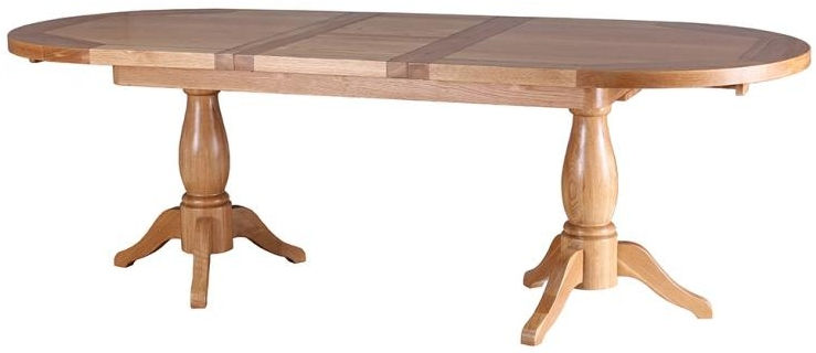 Vancouver Petite Oak Oval Extending Twin Pedestal Dining Table - 190cm - 240cm