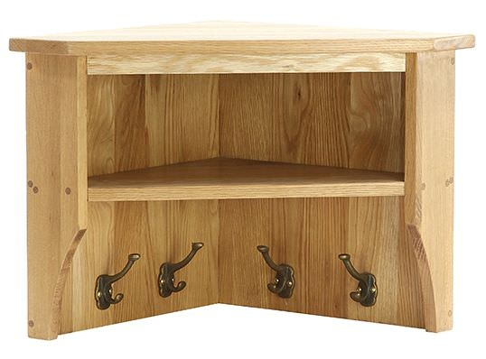 Vancouver Petite Oak Wall Shelf - Small Corner with Coat Rack