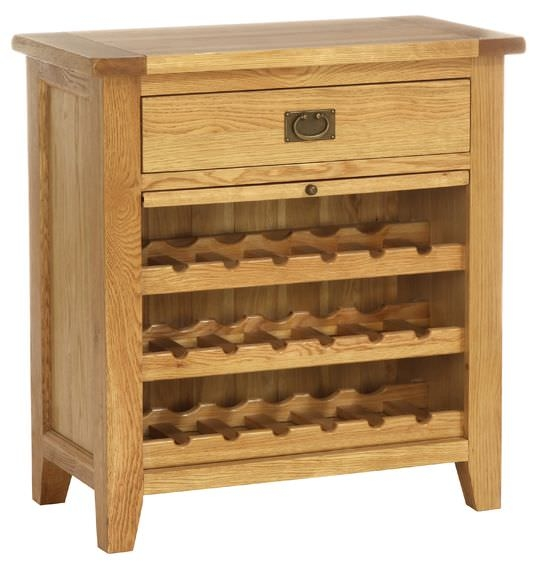 Vancouver Petite Oak Wine Rack - 1 Drawer with Pull Out Shelf