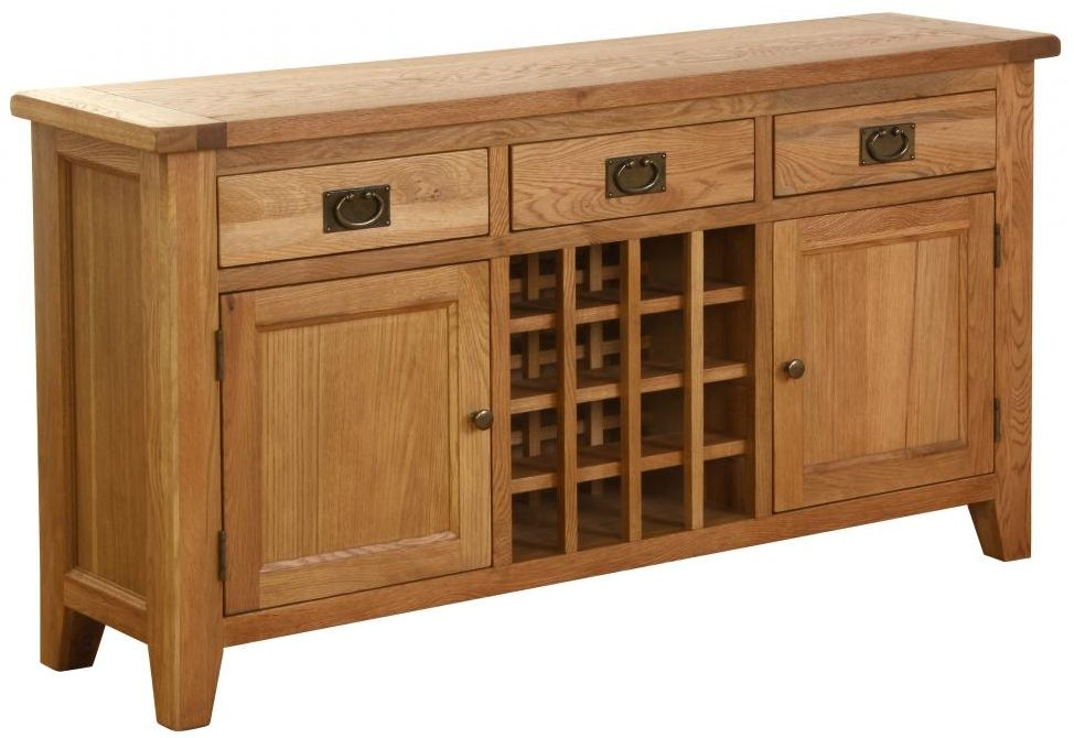 Vancouver Petite Oak Wine Table - 2 Door 3 Drawer