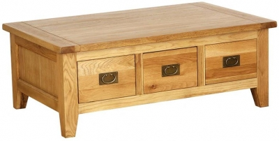 Vancouver Petite VSP Oak Coffee Table - Lift Up Top 3 Drawers