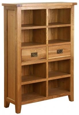 Vancouver Petite VSP Oak Wide Bookcase - 2 Drawer