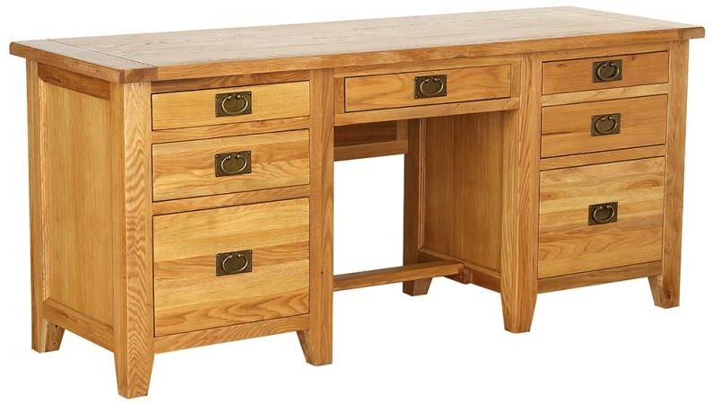 Vancouver Petite VSP Oak Desk - Twin Pedestal