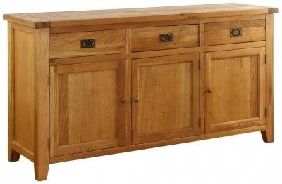 Vancouver Premium Solid Oak 3 Door 3 Drawer Large Wide Sideboard