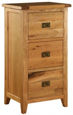 Vancouver Premium Solid Oak 3 Drawer Filing Cabinet