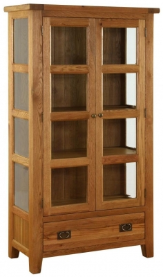 Vancouver Premium Oak Glazed Cupboard - Bevelled Glass