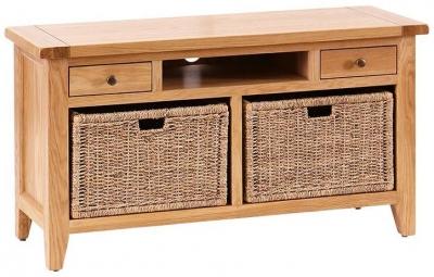 Vancouver Premium Oak Log Storage TV Unit with Baskets
